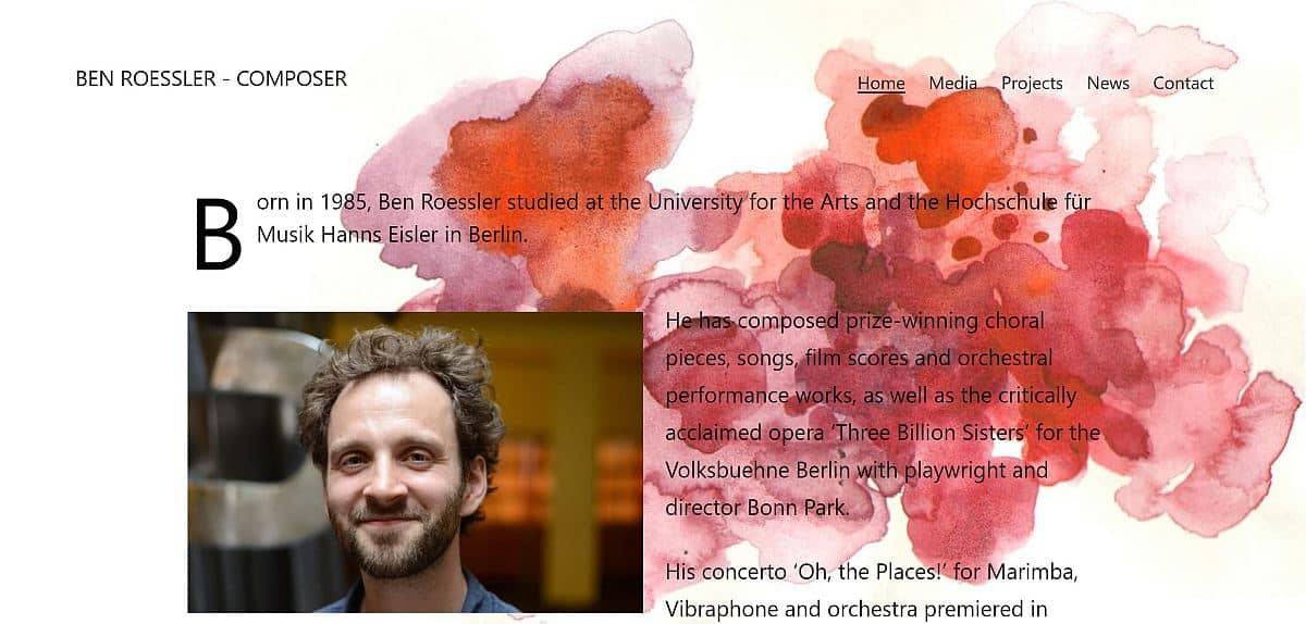 Screenshot Ben Roessler Website