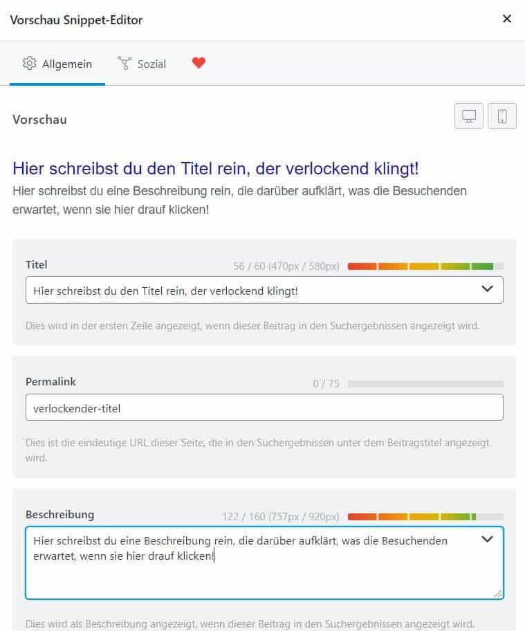einstellungen meta beschreibungen snippet google rank math screenshot